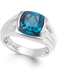 Macy's Men's Blue Topaz 5 Ct. T.W. And Diamond Accent Ring In Sterling Silver