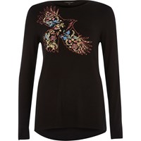River Island Womens Black Floral Bird Print Long Sleeve T Shirt