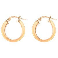 Ibb 9Ct Gold Polished Creole Earrings Rose Gold