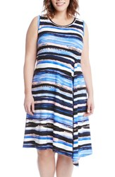 Karen Kane Plus Size Women's Painted Stripe A Line Dress Multi