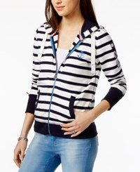 Tommy Hilfiger Striped Hoodie Only At Macy's Navy Ivory Combo