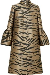 Carolina Herrera Tiger Print Brocade Coat Brown