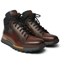 Berluti Fast Track Leather And Jacquard Shell Hiking Boots Brown