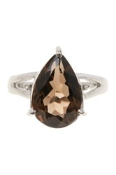 Olivia Leone Sterling Silver Genuine Smoky Quartz And White Topaz Ring Brown