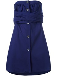 Romeo Gigli Vintage Strapless Wrap Dress Blue