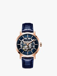 Rotary 'S Greenwich Skeleton Automatic Leather Strap Watch Blue Gs05354 05