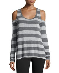 Matty M Striped Cold Shoulder Top Gray