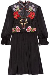 Temperley London Mini Aura Embroidered Silk Blend Chiffon And Lace Mini Dress Black
