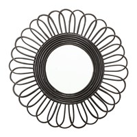 Bloomingville Round Cane Mirror Black