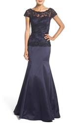 La Femme Women's Embroidered Beaded Lace And Satin Mermaid Gown Navy