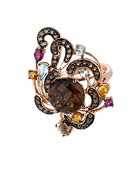 Levian Smoky Quartz And Multi Stone Ring In 14 Kt. Rose Gold