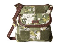 Sakroots Artist Circle Flap Crossbody Olive Flower Power Patch Cross Body Handbags Green
