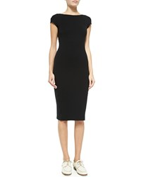 The Row Scoop Back Fitted Jersey Dress Black