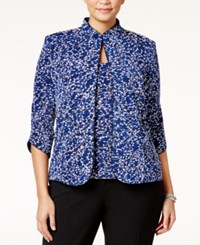 Alex Evenings Plus Size Printed Mandarin Jacket And Shell Royal