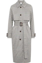 Iris And Ink Prince Of Wales Checked Woven Trench Coat Gray