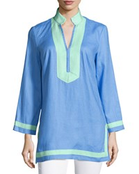 Sail To Sable Classic Linen Long Sleeve Tunic Marina Cabbage