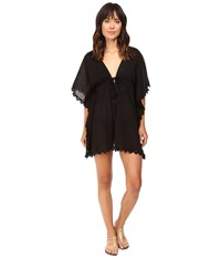 Seafolly Crochet Trim Kaftan Cover Up Black Women's Swimwear