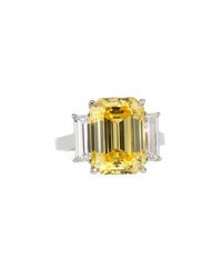 Fantasia Emerald Cut Canary Cz Ring W Baguettes