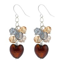 Martick Platinum Heart Crystal Cluster Earrings Chocolate