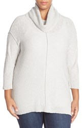 Plus Size Women's Two By Vince Camuto Exposed Seam Cowl Neck Pullover Swan Grey
