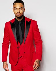 Religion Suit Jacket With Contrast Lapel In Skinny Fit Red