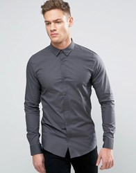Only And Sons Skinny Concealed Button Down Collar Shirt Grey Pinstripe