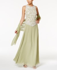 J Kara Embellished Mock 2 Pc. Gown And Shawl Green White