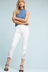 Anthropologie Joe's Debbie Ultra High Rise Skinny Embroidered Jeans White