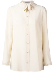 Gucci Pussy Bow Blouse Women Silk 44 Nude Neutrals