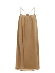 Loup Charmant Scoop Neck Cotton Poplin Slip Dress Brown