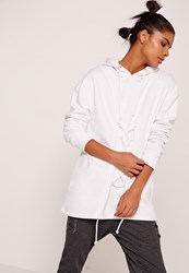 Missguided Lace Up Front Sweatshirt White White
