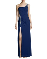 La Femme Embellished One Shoulder Ruched Gown Navy