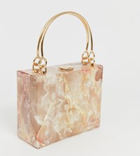 True Decadence Structured Resin Clutch With Metal Grab Handle Pink