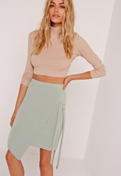 Missguided Crepe Tie Front Wrap Mini Green Green
