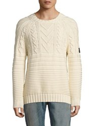Belstaff Waresley Mixed Patterned Sweater Ecru
