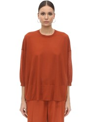 Agnona Cashmere Knit Turtleneck Sweater Orange