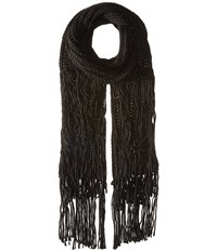 Bcbgeneration Fringed Long And Skinny Scarf Black Scarves