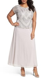 Pisarro Nights Plus Size Women's Beaded Mock Two Piece Gown Silver