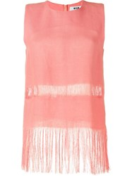 Msgm Fringed Tank Top Pink And Purple