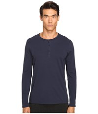 Atm Anthony Thomas Melillo Classic Henley Midnight Men's Long Sleeve Pullover Navy