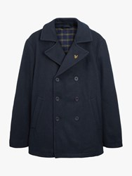 Lyle And Scott Wool Blend Double Breasted Peacoat Dark Navy