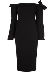 Jay Godfrey Off Shoulder Flared Sleeve Dress Black