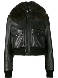 Givenchy Cropped Flight Bomber Jacket Black