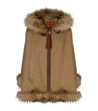Holland Cooper Fur Trimmed Tweed Cape Female Brown