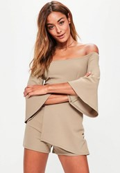 Missguided Tan Flared Sleeve Wrap Bardot Playsuit Camel