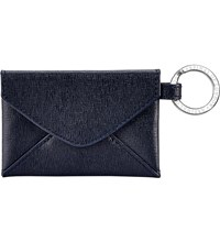 Aspinal Of London Envelope Pouch Textured Leather Keyring Navy