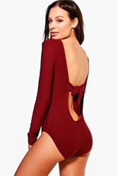 Boohoo Bow Back Detail Bodysuit Wine