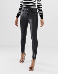 Lipsy Coated Skinny Jeans With Ankle Splits Black