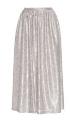 Sally Lapointe Speckled Sequin Midi Skirt Silver