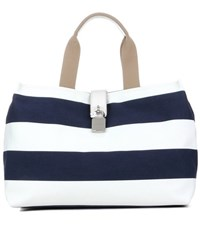 Dolce And Gabbana Striped Canvas Tote Bag Blue